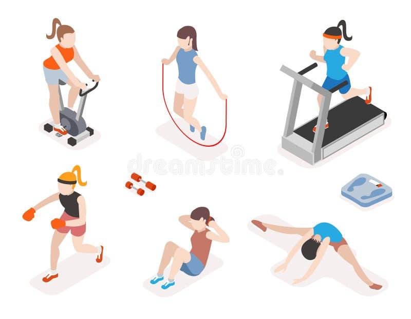Konditionkvinnor i idrottshall, gymnastikgenomkörare och yoga stock illustrationer