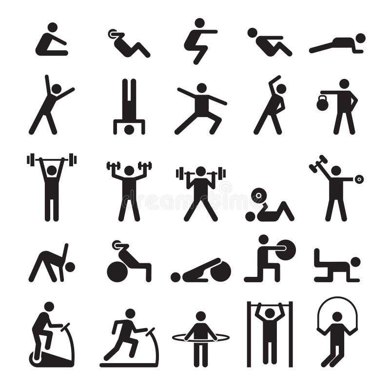 Konditionpictogram Tecken som gör övningssportdiagram vektorsymboler och symboler royaltyfri illustrationer