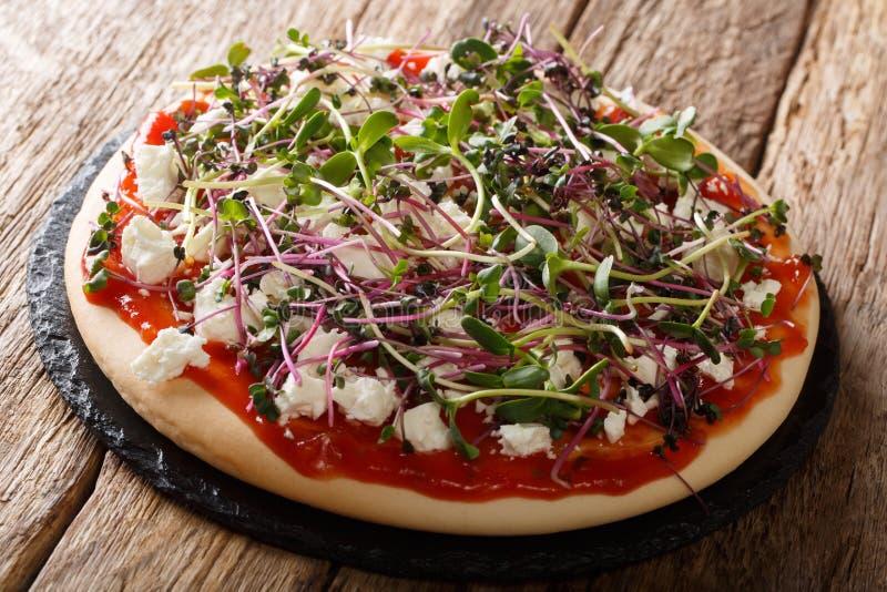 Konditionpizza med ost och mikrogr?n n?rbild f?r ny blandning horisontal arkivbild