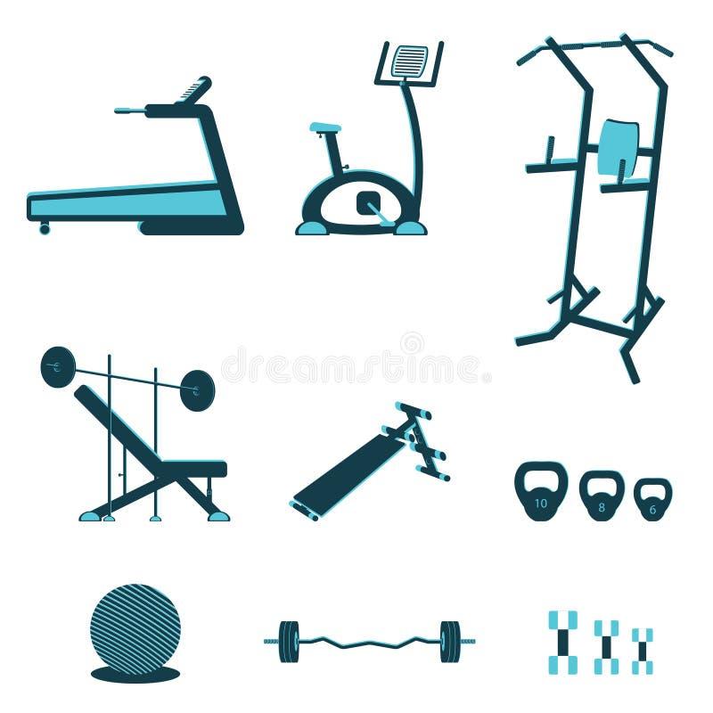 Konditionutrustningar royaltyfri illustrationer