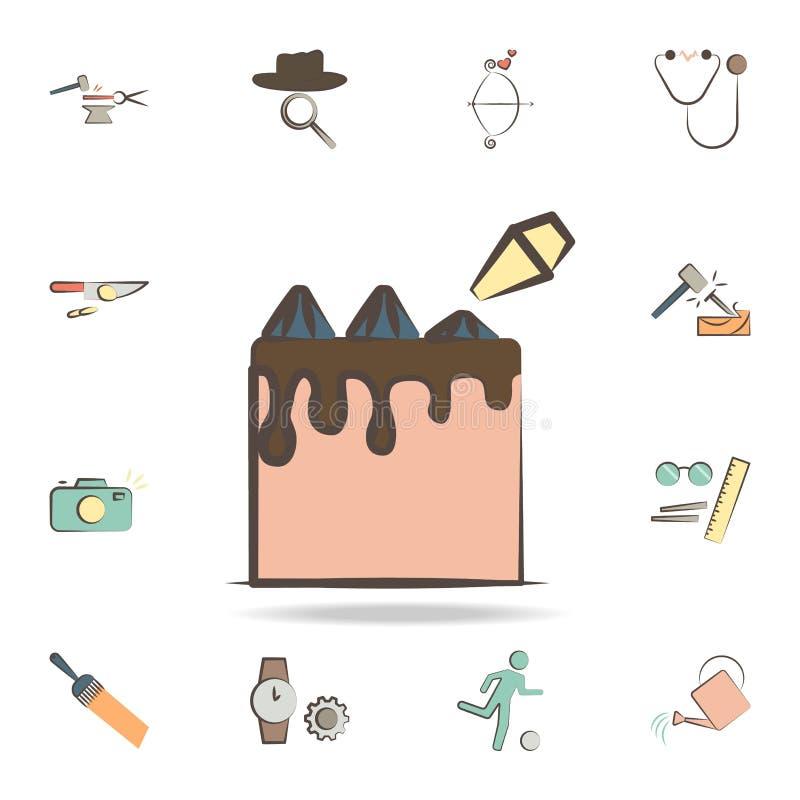 Konditor bearbeitet Ikone Ausführlicher Satz Werkzeuge von verschiedenen Berufikonen Erstklassiges Grafikdesign Eine der Sammlung stock abbildung