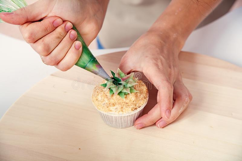 Konditor dekorerar muffin royaltyfri fotografi