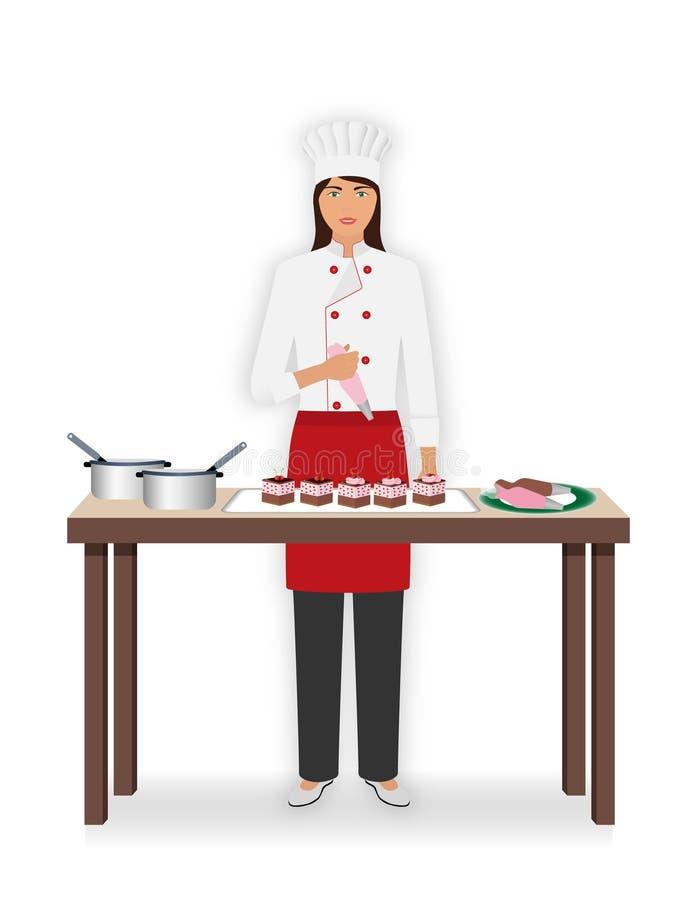 Konditor der jungen Frau verzieren Nachtische mit Gebäcktasche Backvorlagenklasse, zum von Kuchen zu machen vektor abbildung