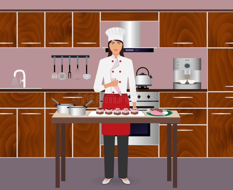 Konditor der jungen Frau verzieren Nachtische mit Gebäcktasche Backvorlagenklasse, zum von Kuchen zu machen stock abbildung