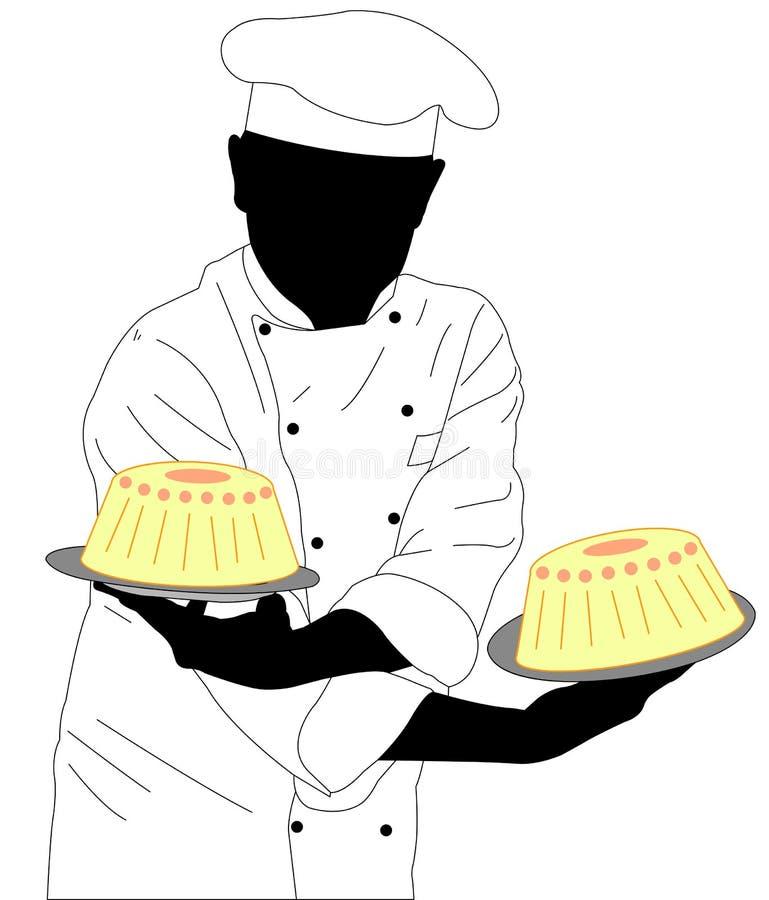 Konditor, der zwei Kuchen hält stock abbildung