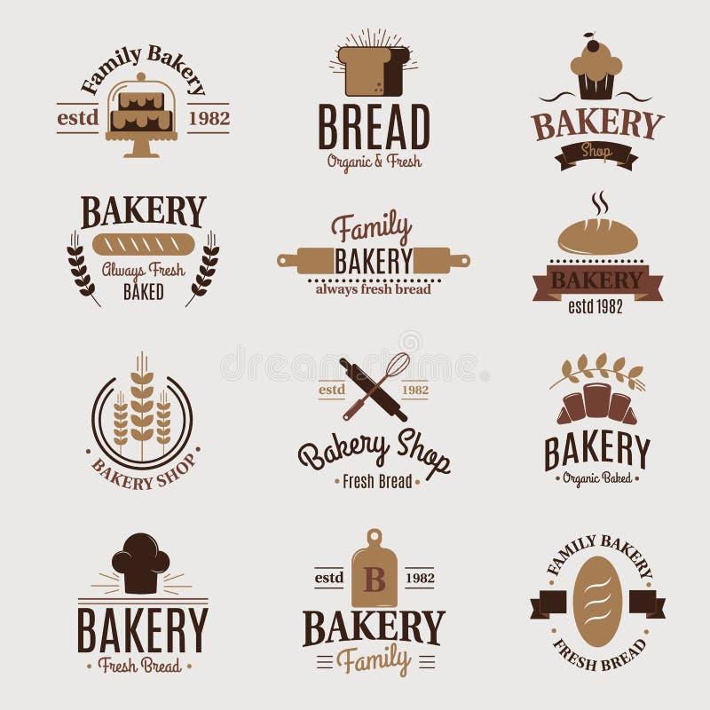 Konditor för beståndsdelen för designen för etiketten för vektorn för vete för stil för mode för bageriemblemsymbolen sötsak-shop vektor illustrationer