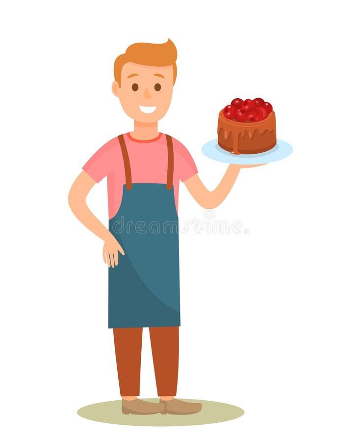 Konditor-Holding Tasty Cake-Zeichentrickfilm-Figur vektor abbildung