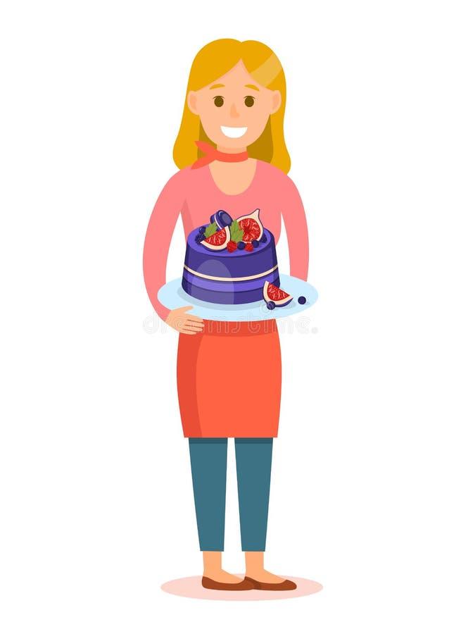 Konditor-Holding Tasty Cake-Zeichentrickfilm-Figur stock abbildung