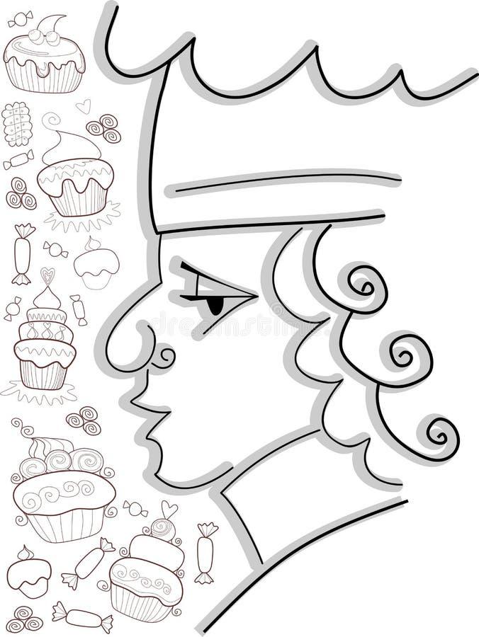 Konditor mit Bonbons Schöne Vektorillustration lizenzfreie abbildung