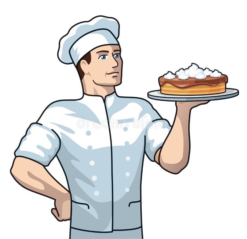 Konditor mit Kuchen lizenzfreie abbildung
