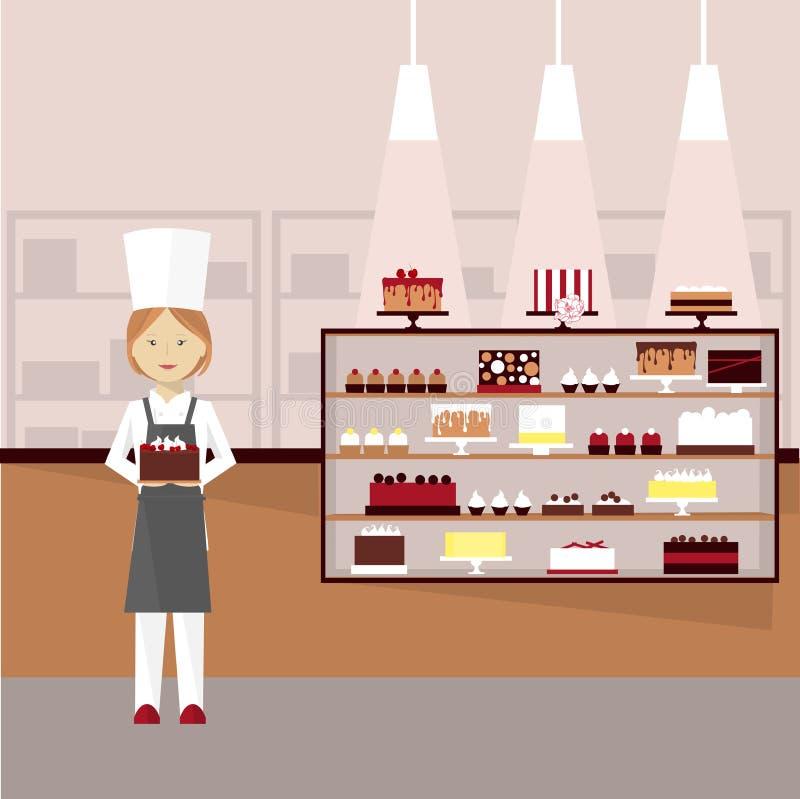 Konditor mit Kuchen Auch im corel abgehobenen Betrag lizenzfreie abbildung