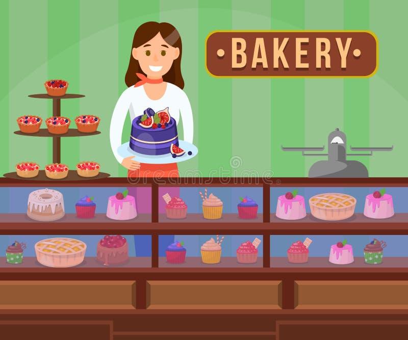 Konditor mit Kuchen flacher Vektor-Illustration vektor abbildung