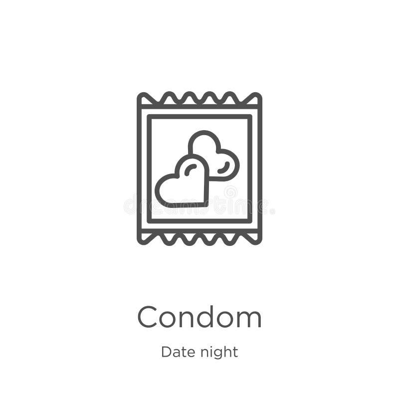 kondom ikony wektor od daktylowej nocy kolekcji Cienka kreskowa kondoma konturu ikony wektoru ilustracja Kontur, cienieje kreskow ilustracja wektor
