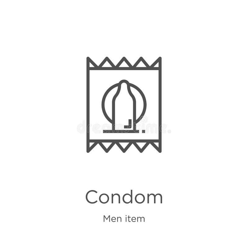 kondom ikony wektor od mężczyzna rzeczy kolekcji Cienka kreskowa kondoma konturu ikony wektoru ilustracja Kontur, cienieje kresko ilustracji