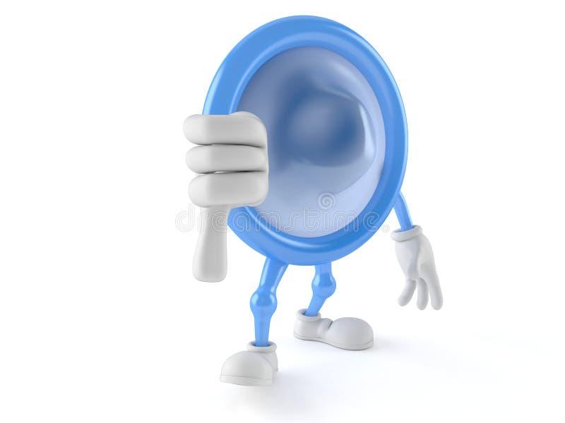 Kondomcharakter mit den Daumen hinunter Geste lizenzfreie abbildung