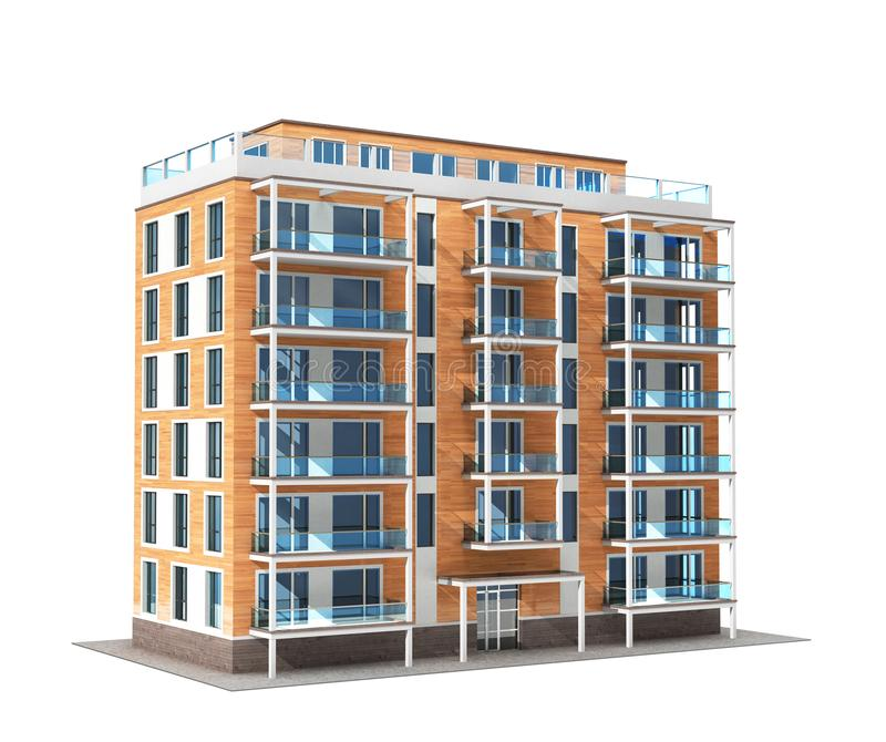 Kondominium lub budynek mieszkaniowy odizolowywający na białym tle ilustracji