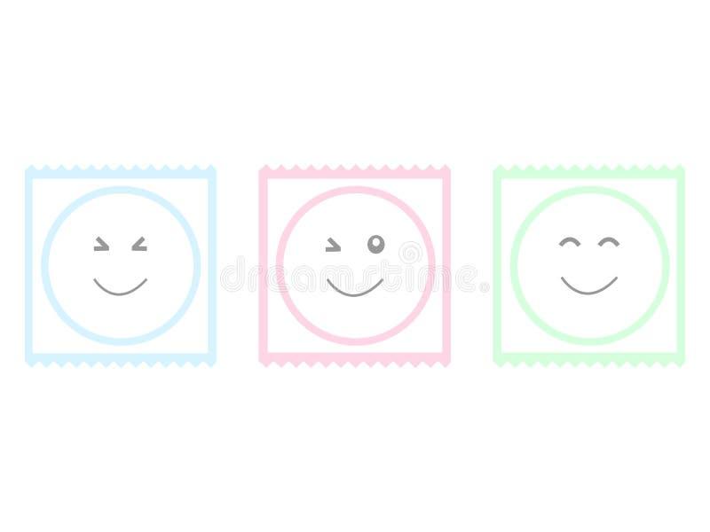 Kondomlinje tecknad filmsymbol som isoleras på den vita bakgrunden royaltyfri illustrationer