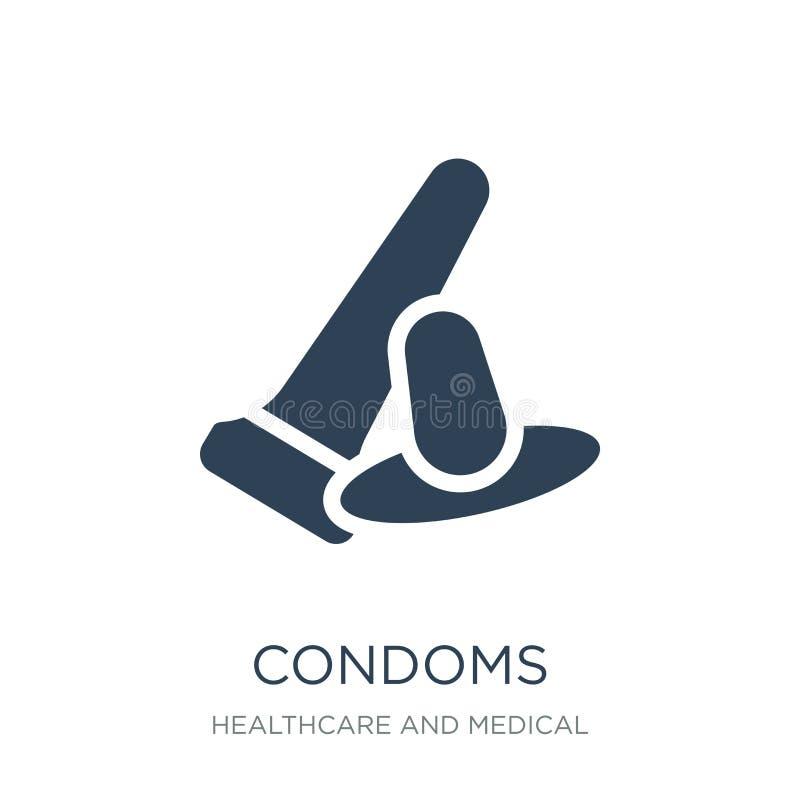 kondomsymbol i moderiktig designstil kondomsymbol som isoleras på vit bakgrund enkelt och modernt plant symbol för kondomvektorsy stock illustrationer