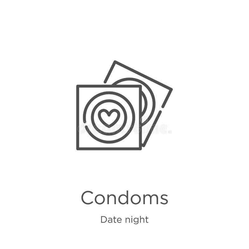 kondomsymbolsvektor från datumnattsamling Tunn linje illustration för vektor för kondomöversiktssymbol Översikt tunn linje kondom stock illustrationer