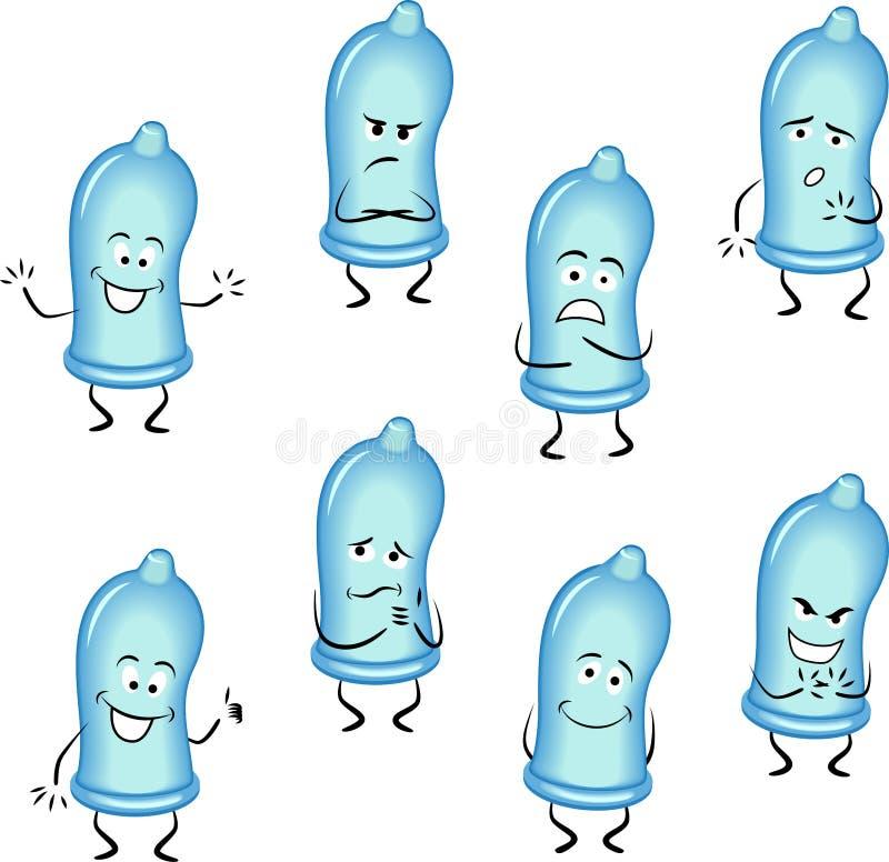 Kondomy ustawiający ilustracja wektor