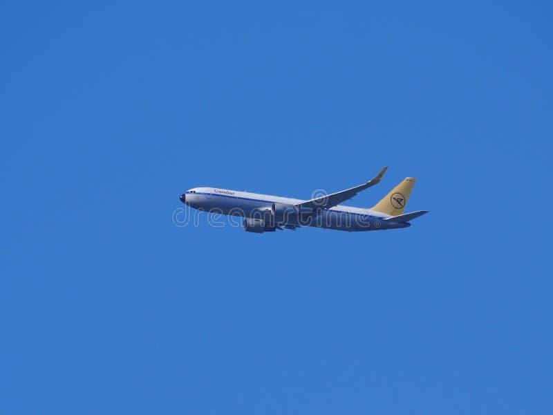 Kondor-Flugzeug in Flug mit blauem Himmel lizenzfreie stockfotos