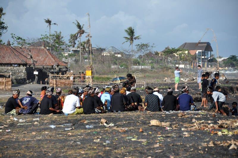 Kondukt żałobny na Sanur plaży na Bali obrazy stock