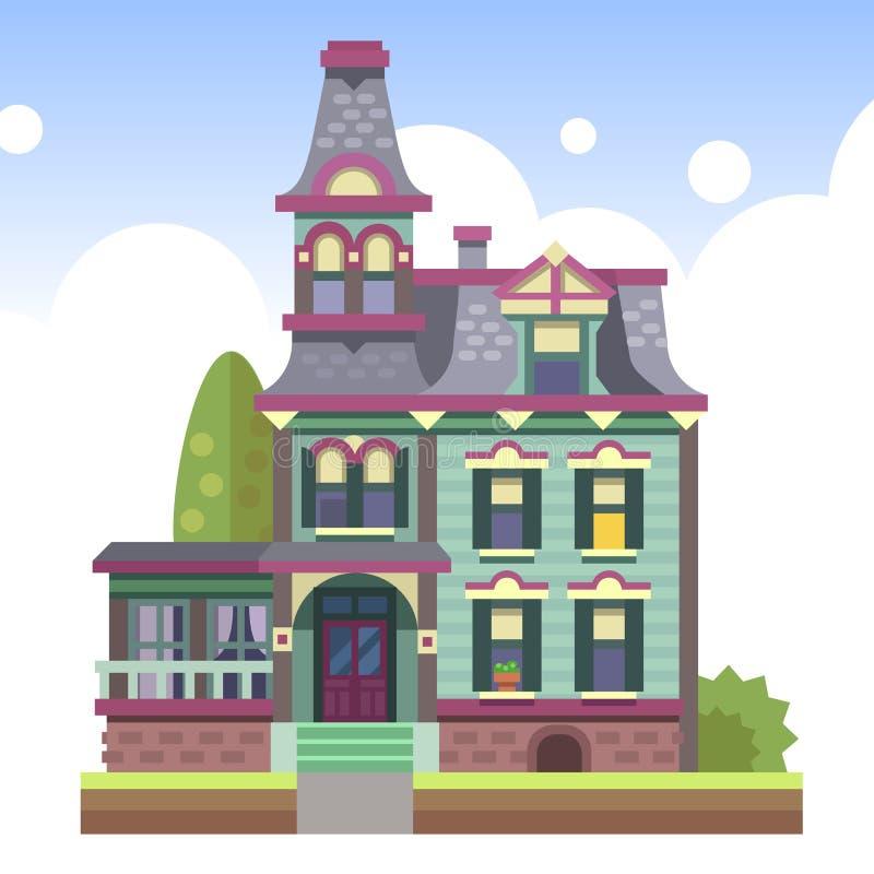 Kondygnaci dom na wsi ilustracja wektor