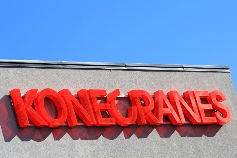 Konecranes Signage and Blue Sky. HYVINKAA, FINLAND – SEPTEMBER 26, 2015: Konecranes signage at the Konecranes Corporation headquarters in Hyvinkaa royalty free stock image