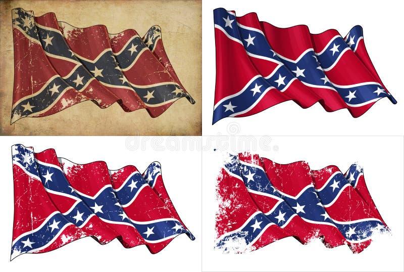 Konfederacyjna Buntownicza Historyczna flaga ilustracji