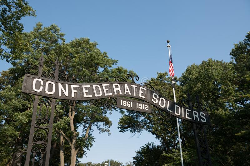 Konfederacyjna cmentarniana brama obraz stock
