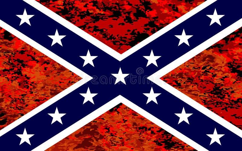 Konfederacyjna flaga Nad ogieniem ilustracja wektor
