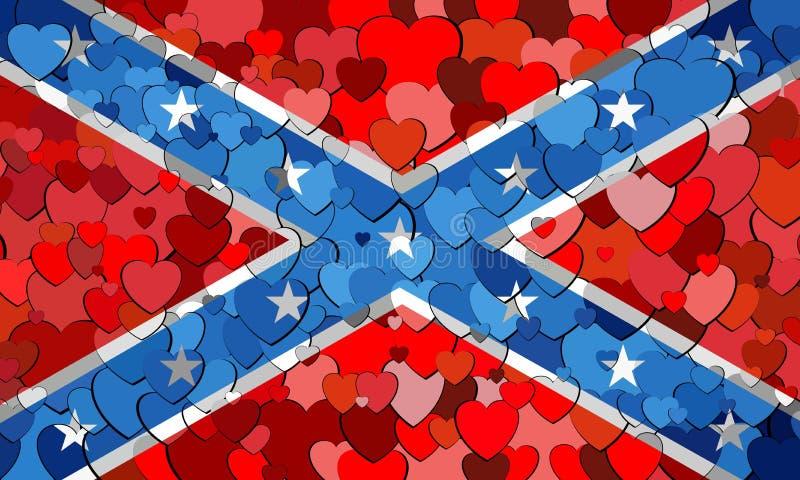 Konfederacyjna flaga robić serca tło ilustracji