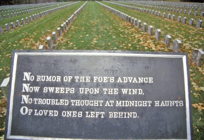 Konfederacyjny cmentarz, Rockowa wyspa, Illinois obrazy stock