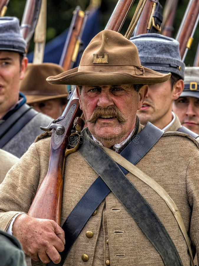Konfederat Pozyskujący inżynier Amerykańska Cywilna wojna fotografia royalty free
