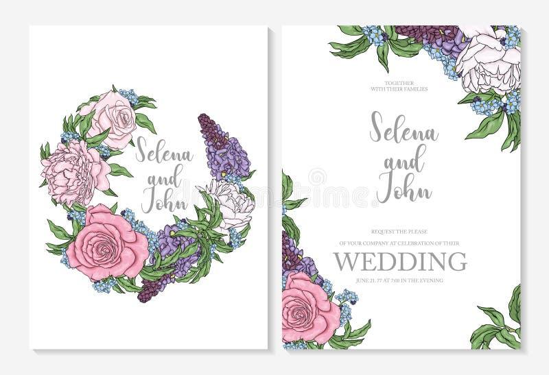 Konfektions- design av bröllopkort eller inbjudningar med pioner och rosor Växter, trädgård och blommor Vår och sommar stock illustrationer