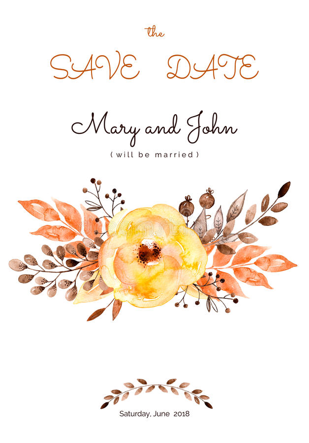 Konfektions- härligt bröllopkort av gulingblommor och sidor stock illustrationer