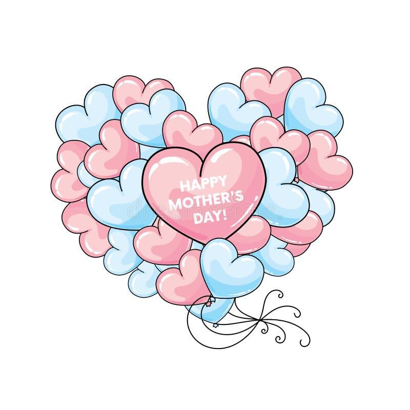 Konfektions- vykort` lycklig ` för dag för moder` s med stora hjärtor också vektor för coreldrawillustration vektor illustrationer