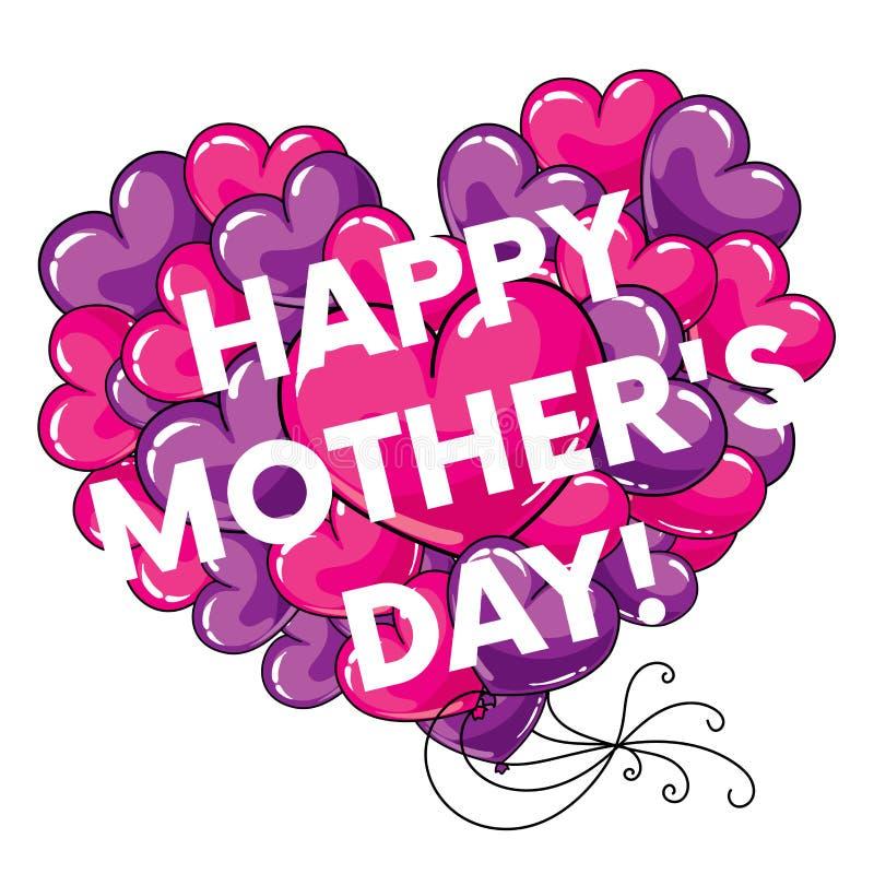 Konfektions- vykort` lycklig ` för dag för moder` s med stora hjärtor också vektor för coreldrawillustration royaltyfri illustrationer