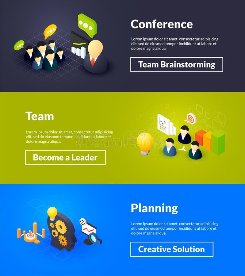 Konferenci drużyna i planistyczni sztandary isometric koloru projekt ilustracja wektor