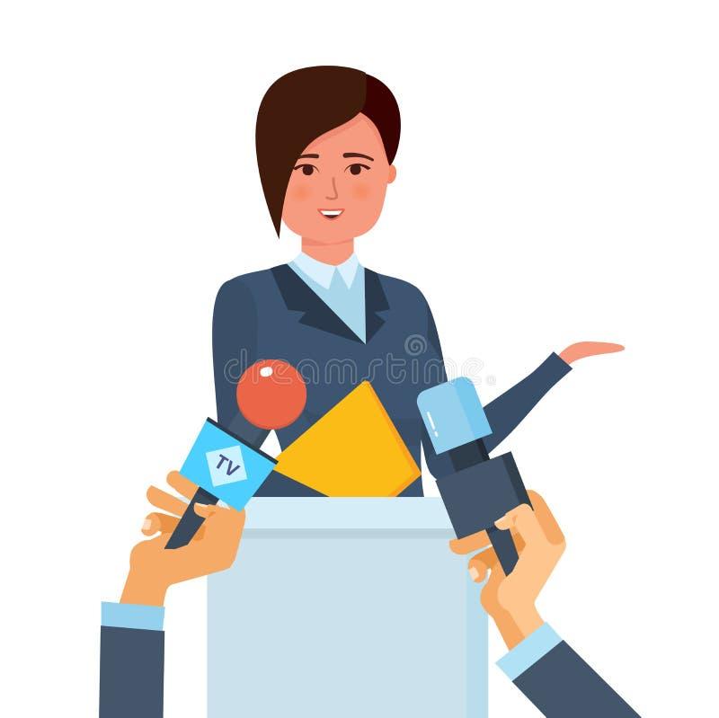 Konferenci Prasowej pojęcie Komunikacje i żyją dialog, wywiada, pytania, środki ilustracja wektor