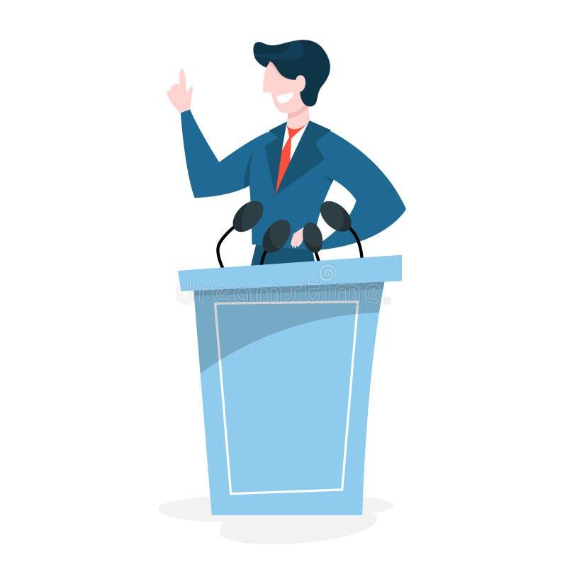 Konferenci Prasowej poj?cie Polityk pozycja przy mikrofonem ilustracja wektor