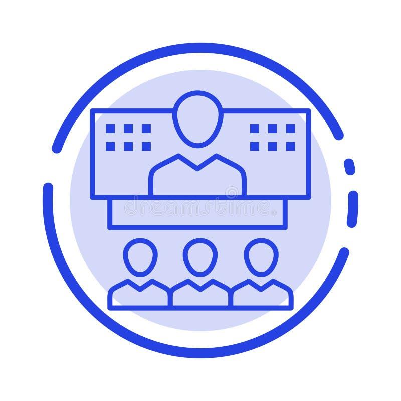 Konferencja, biznes, wezwanie, związek, internet błękit, Online Kropkująca linii linii ikona ilustracja wektor