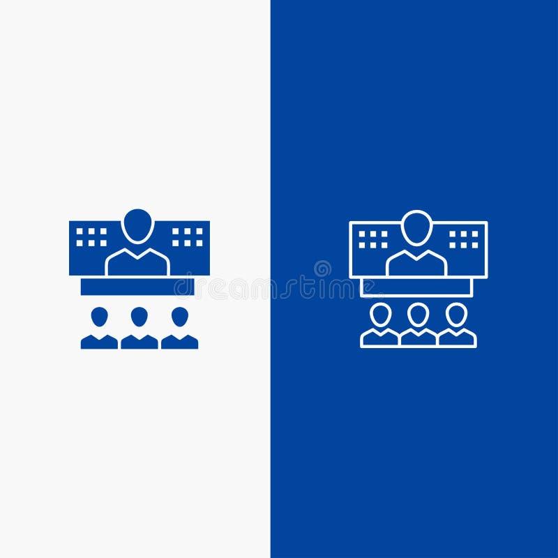 Konferencja, biznes, wezwanie, związek, internet, Błękitnej ikony Stały błękit, Online linii, glifu Stałej ikony sztandaru glifu  royalty ilustracja