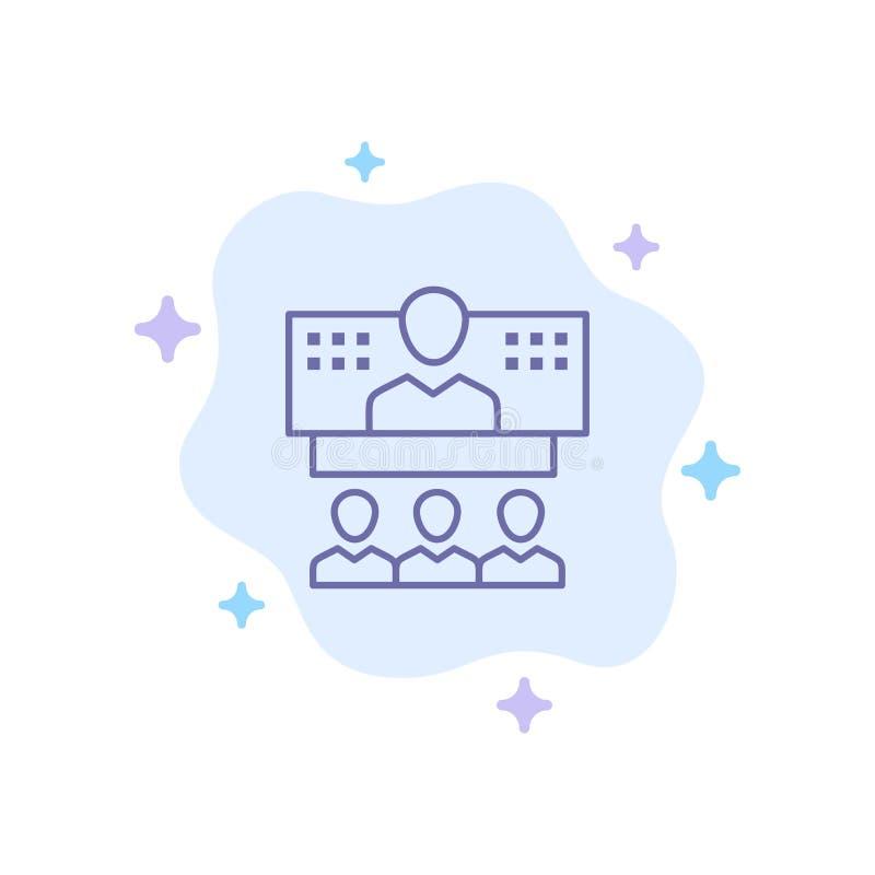 Konferencja, biznes, wezwanie, związek, internet, Online Błękitna ikona na abstrakt chmury tle ilustracji