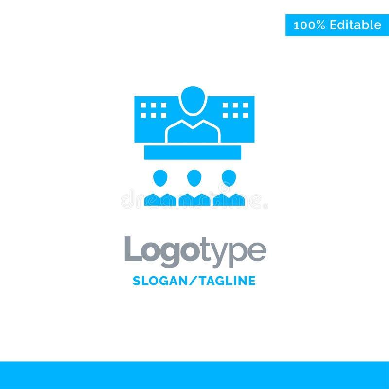 Konferencja, biznes, wezwanie, związek, internet, Online Błękitny Stały logo szablon Miejsce dla Tagline ilustracji