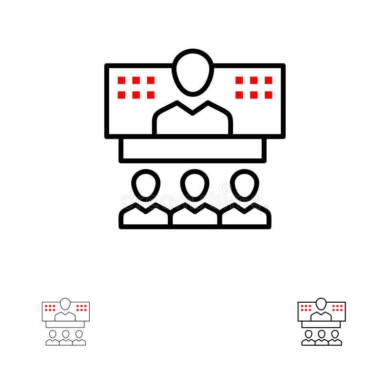 Konferencja, biznes, wezwanie, związek, internet, Online czerni linii ikony set, Śmiały i cienki ilustracji