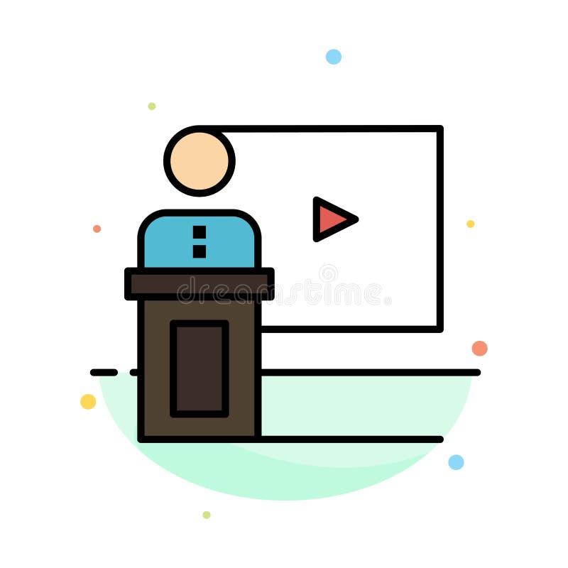 Konferencja, biznes, wydarzenie, prezentacja, pokój, mówca, mowa koloru ikony Abstrakcjonistyczny Płaski szablon royalty ilustracja