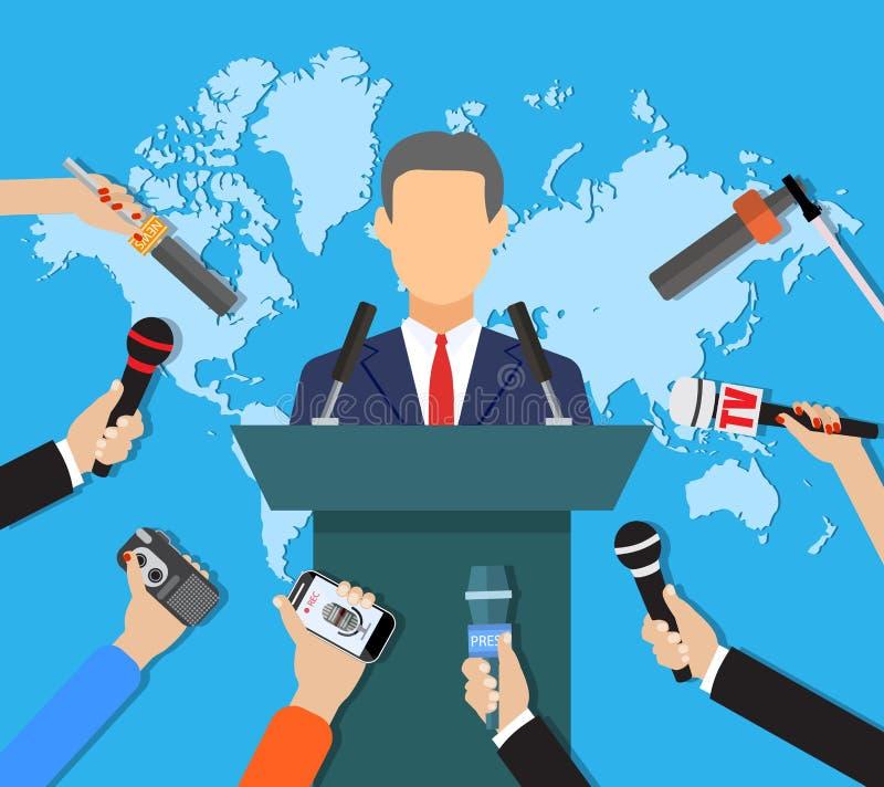Konferencja prasowa, światu tv żywa wiadomość, wywiad ilustracja wektor