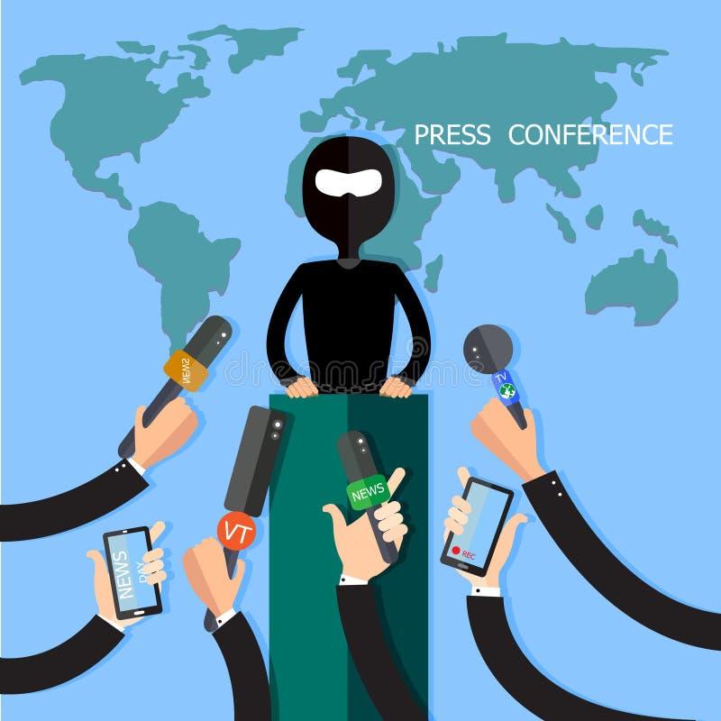 Konferencja Prasowa, mikrofon, wywiad, środki masowego przekazu, Globalna komunikacja z złodziejem, Transmituje ilustracja wektor