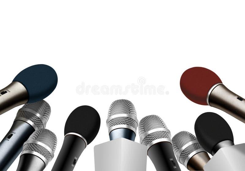 Konferencja prasowa mikrofony ilustracja wektor